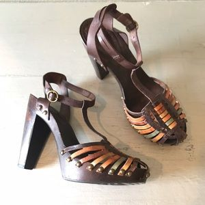 BCBGirls Studded Leather Wooden Heel Huaraches